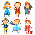 Cute Winter Girls Set. Kids Winter Activity. Vector Collection Of Cartoon Female Characters Stock Photography - 102863462