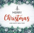 MERRY CHRISTMAS AND HAPPY NEW YEAR  Typography,text With Christmas Ornament Royalty Free Stock Photo - 102866155