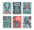 Collection Of Six Christmas Greeting Cards. Stock Image - 102873311
