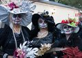 SAN ANTONIO, TEXAS - OCTOBER 28, 2017 - Three Women Wearing Fancy Hats And Face Paint For Dia De Los Muertos/Day Of The Dead Celeb Stock Images - 102885634