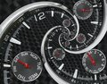 Modern Silver Black Fashion Clock Watch Red Clock Hands Twisted To Surreal Time Spiral. Surrealism Clock Black Clock Watch Abstrac Royalty Free Stock Images - 102898219