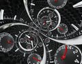 Modern Silver Black Fashion Clock Watch Red Clock Hands Twisted To Surreal Time Spiral. Surrealism Clock Black Clock Watch Abstrac Royalty Free Stock Image - 102898226