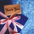 Dark Blue Gift Box With  Ribbon Decoration And Thank You Card Stock Images - 102906994