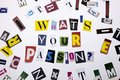 A Word Writing Text Showing Concept Of WHATS YOUR PASSION QUESTION Made Of Different Magazine Newspaper Letter For Business Case Royalty Free Stock Image - 102908266
