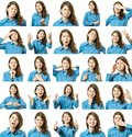 Collage Of Beautiful Girl With Different Facial Expressions Stock Photos - 102933463