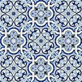 Gorgeous Seamless Pattern White Blue Moroccan, Portuguese Tiles, Azulejo, Ornaments. Can Be Used For Wallpaper, Pattern Royalty Free Stock Photo - 102940505