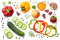 Mix Of Sliced Cucumber, Garlic, Sweet Bell Pepper And Parsley Isolated On White Background. Top View Royalty Free Stock Images - 102983239