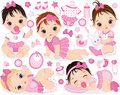 Vector Set With Cute Baby Girls, Toys And Accessories Royalty Free Stock Photo - 103031745