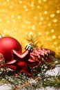 Christmas Composition Of Christmas Tree Toys On A Gold Background Royalty Free Stock Photos - 103060928