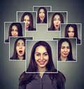Happy Masked Woman Expressing Different Emotions Royalty Free Stock Photo - 103179515