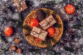 Christmas Composition With Tangerines, Gift Boxes, Cones. Stock Photos - 103232453