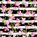 Blooming Spring Flowers Pattern Background. Seamless Fashion Print Stock Photo - 103255840
