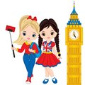 Vector Cute Little Girls Making Selfie With View Of The Big Ben Stock Images - 103276734