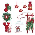 Set Hand-drawn Holiday Gifts And Christmas Wreath.  Royalty Free Stock Images - 103297889