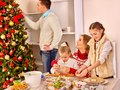 Christmas Family Dinner Children Rolling Dough In Kitchen Xmas Party Stock Image - 103314361