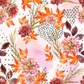 Autumn Watercolor Floral Seamless Pattern. Royalty Free Stock Photo - 103373105