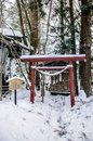 Small Shrine In Kakunodate - Akita In Winter, Snow Cover Over Th Royalty Free Stock Photos - 103391748