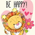 Lion With Hearts And A Flower Stock Image - 103474381