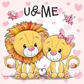 Two Cute Lions On A Hearts Background Royalty Free Stock Photo - 103474545