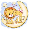 Two Cute Lions Is Sitting On The Moon Stock Image - 103474581