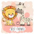 Cute Lion And Giraffel On A Pink Background Stock Image - 103474631