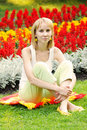 Blonde Against Flower Background Royalty Free Stock Photos - 10350468
