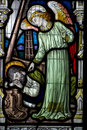 Angel And Sleeping Fisherman Stained Glass Stock Photography - 10359962