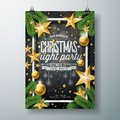 Vector Merry Christmas Party Design With Holiday Typography Elements And Ornamental Balls, Cutout Paper Star, Pine Royalty Free Stock Image - 103531696