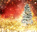Christmas Tree On A Gold And Red Sparkly Background Stock Photo - 103570700