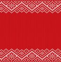 Knitted Red Christmas Geometric Ornament. Winter Seamless Knit Background With Empty Place For Your Text. Royalty Free Stock Photos - 103581378