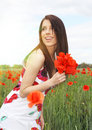 Beautiful Girl In The Poppy Field. Royalty Free Stock Photo - 10376105