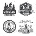 Vintage Typography Design With Car And Trailer, Mountain Bikes And Mountain Silhouette. Royalty Free Stock Photography - 103713547