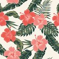 Flowers Hibiscus Abstract Color Tropical Leaves Seamless Stock Image - 103716541