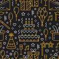 Birthday Party Seamless Pattern, Flat Line Illustration. Vector Icons Of Event Agency, Wedding Organization - Cake Stock Photo - 103766180