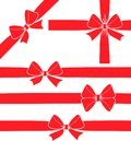 Set Of Five Vector Decorative Red Ribbon Bow Silhouettes. Royalty Free Stock Photos - 103813258
