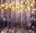 Garland With Lights. Old Wooden Background. Celebratory Lights. Stock Images - 103841944