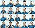 Set Of Young Man`s Portraits With Different Emotions And Gesture Stock Images - 103853754