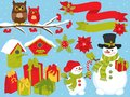 Vector Christmas And New Year Set With Snowmen, Owls And Festive Winter Elements Royalty Free Stock Images - 103880239