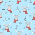 Christmas Pattern With Cute Cartoon Elks Royalty Free Stock Photo - 103946995