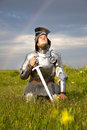 Weary Knight, After The Battle /  Rain And Rainbow Stock Images - 10409204