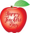 Happy Teachers` Day Written On A Red Apple Stock Image - 104011621