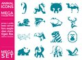 Mega Pack And Mega Set Vector Animals Icons Set Stock Image - 104022171
