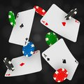 Casino Chips And Aces Falling On A Black Background. Gambling Fond With Flying Playing Cards And Gaming Coins. Royalty Free Stock Photography - 104026397