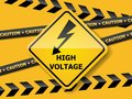 High Voltage Sign On Yellow Wall Stock Photography - 104076222