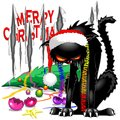 Evil Black Cat Broken Christmas Tree Royalty Free Stock Images - 104078369