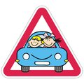 Attention, Kids On The Car. Red Triangle Frame. Royalty Free Stock Photo - 104100575