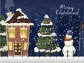 Winter Landscape With Christmas Houses Firtree Mountain Frozen Nature Wallpaper Beautiful Natural Vector Illustration. Stock Images - 104101614