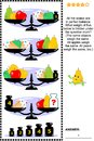 Visual Math Puzzle With Scales, Weights, Apples, Pears And Ice Cream Royalty Free Stock Photos - 104121968