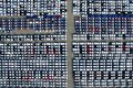 Aerial View Of New Car Storage Parking Lot. Stock Images - 104152594