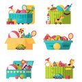 Full Kid Toys In Boxes For Kids Play Childhood Babyroom Container Vector Illustration Stock Images - 104211794